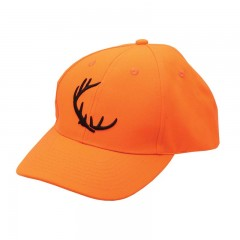 Backwoods blaze orange safety hunting cap with embroidered antler logo