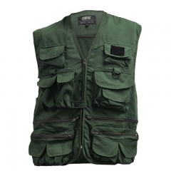 Compac forest green cotton fishing vest with 25 pockets
