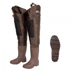 Fishing hip waders for men anglers fishing in lakes, rivers, streams with water resistant, heavyweight Nylon and PVC material, PVC molded cleat boot with Neoprene insulation and reinfored knee patch from CG Emery, a leading wholesaler with a retail network of fishing and hunting stores across Canada offering outdoor products for sale, including gear, clothes, apparel, equipment and accessories for men, women, youth and kids in Ontario,  Alberta, British Columbia, Manitoba, New Brunswick, Newfoundland and Labrador, Nova Scotia, Prince Edward Island, Quebec, and Saskatchewan.