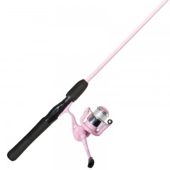 Emery ladies pink sapphire spinning fishing rod and prespooled reel combo