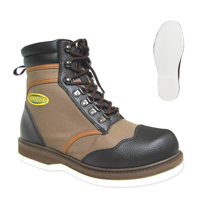 Streamside adventurer felt sole wading boots cg emery for Wading shoes for fishing