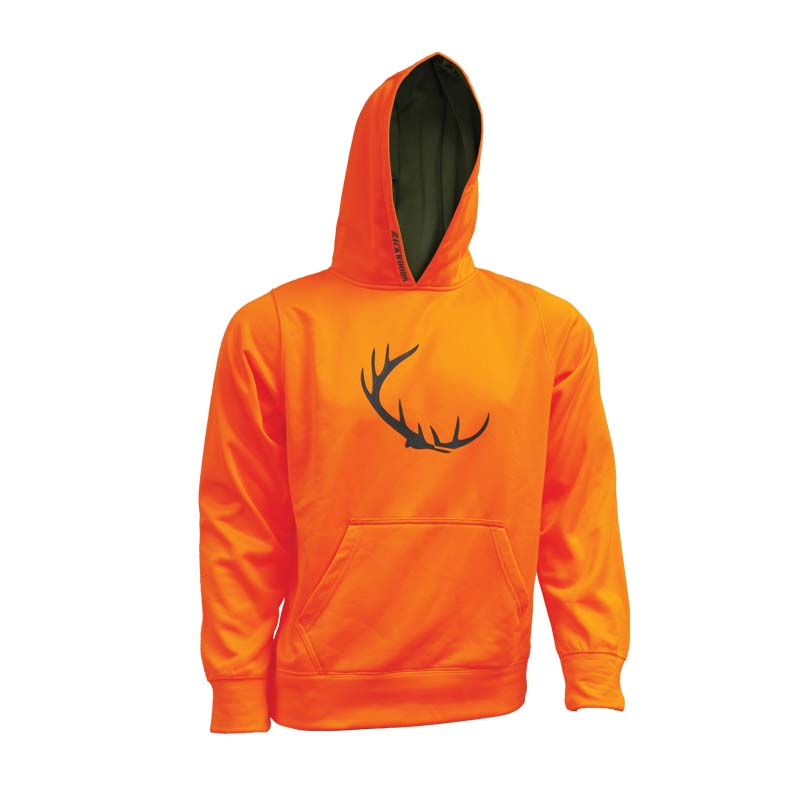 40f5711002848 Blaze orange hunting sweater Backwoods logo - CG Emery