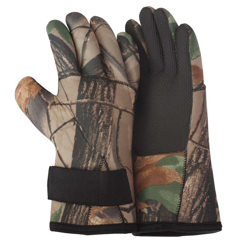 Fishing gloves neoprene camo fleece lined cg emery for Neoprene fishing gloves