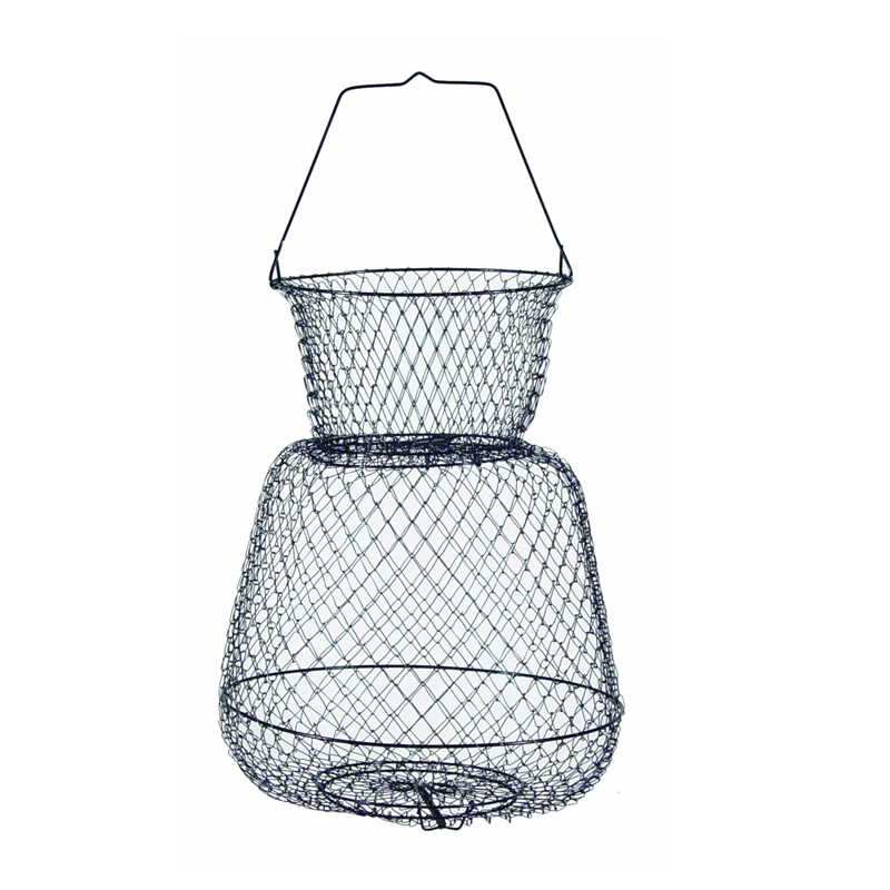 Wire fish baskets trap doors single handle cg emery for Fish wire basket