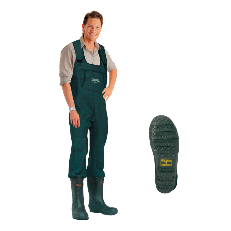 Neoprene chest fishing waders rubber boot cleated sole for Youth fishing waders