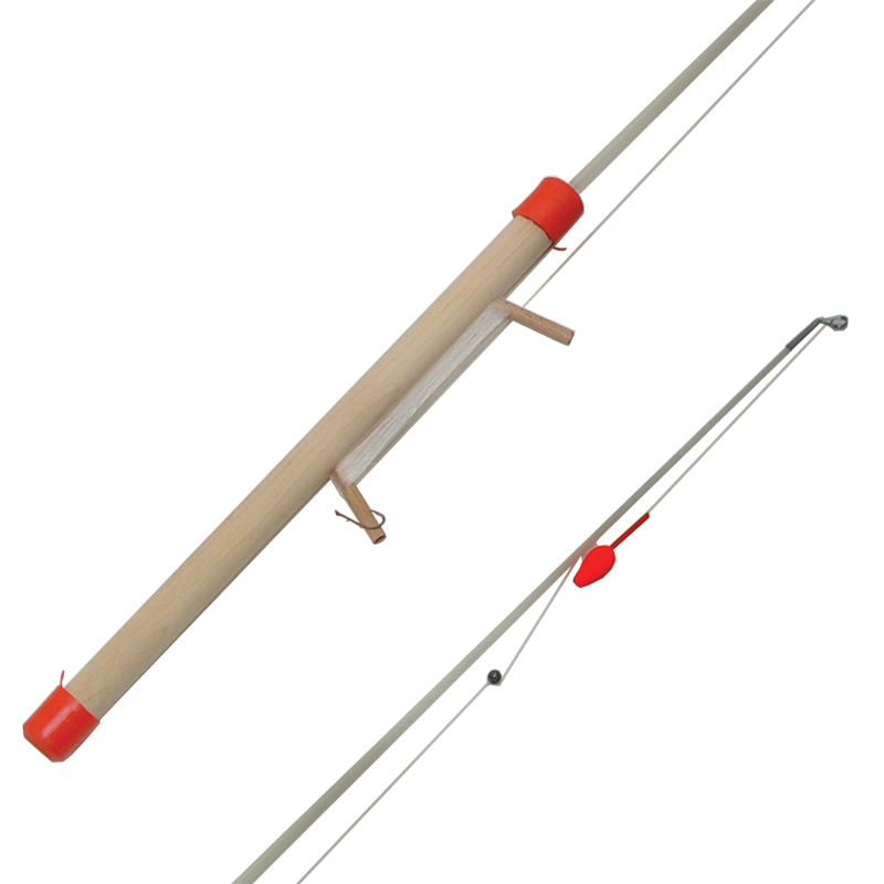 Ice fishing gear rod wooden rigged line lure cg emery for Ice fishing line