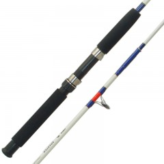 Solid boat rods, including models for big game fish and two piece boat rods, offering heavy duty strength and minimal amount of angler fatigue.