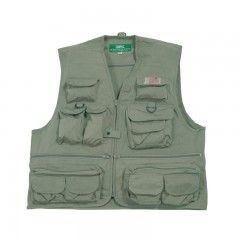 Compac olive green cotton fishing vest with 25 pockets