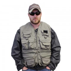 Fishing vest 25 pockets olive green