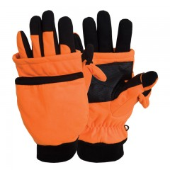 Hunting gloves blaze orange fold back mitt waterproof