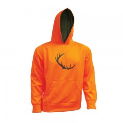 Blaze orange sweater with Backwoods antler