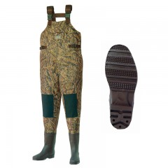 Fishing chest waders for men anglers fishing in lakes, rivers, streams with water resistant, heavyweight Nylon and PVC Mossy Oak Shadow Grass camo material, PVC molded cleat boot with Neoprene insulation and tapered seams from CG Emery, a leading wholesaler with a retail network of fishing and hunting stores across Canada offering outdoor products for sale, including gear, clothes, apparel, equipment and accessories for men, women, youth and kids in Ontario,  Alberta, British Columbia, Manitoba, New Brunswick, Newfoundland and Labrador, Nova Scotia, Prince Edward Island, Quebec, and Saskatchew