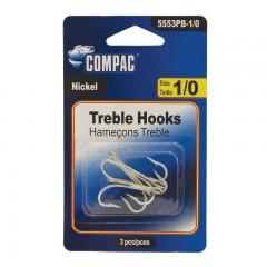 Fishing tackle hooks treble nickle sharp