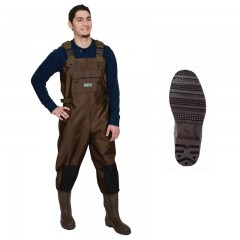 Fishing chest waders for men anglers fishing in lakes, rivers, streams with water resistant, heavyweight Nylon and PVC material, PVC molded cleat boot with Neoprene insulation and tapered seams from CG Emery, a leading wholesaler with a retail network of fishing and hunting stores across Canada offering outdoor products for sale, including gear, clothes, apparel, equipment and accessories for men, women, youth and kids in Ontario,  Alberta, British Columbia, Manitoba, New Brunswick, Newfoundland and Labrador, Nova Scotia, Prince Edward Island, Quebec, and Saskatchewan.