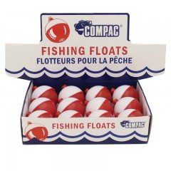 Compac red and white plastic floats in display box