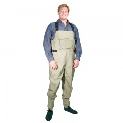 Fishing chest waders for larger male anglers fishing in lakes, rivers, streams with waterproof, breathable Quadratex material, neoprene stocking foot, and detachable suspenders from CG Emery, a leading wholesaler with a retail network of fishing and hunting stores across Canada offering outdoor products for sale, including gear, clothes, apparel, equipment and accessories for men, women, youth and kids in Ontario,  Alberta, British Columbia, Manitoba, New Brunswick, Newfoundland and Labrador, Nova Scotia, Prince Edward Island, Quebec, and Saskatchewan.
