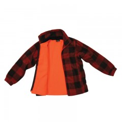 Canadian kid's lumberjack jacket reversible blaze orange hunting