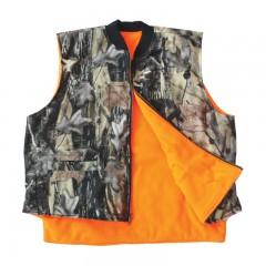 Reversible hunting vest camo blaze orange waterproof