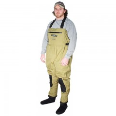 Fishing chest waders for men anglers fishing in lakes, rivers, streams with waterproof, breathable material, neoprene stocking foot, front zippered pocket and fleece lined warmer pocket from CG Emery, a leading wholesaler with a retail network of fishing and hunting stores across Canada offering outdoor products for sale, including gear, clothes, apparel, equipment and accessories for men, women, youth and kids in Ontario,  Alberta, British Columbia, Manitoba, New Brunswick, Newfoundland and Labrador, Nova Scotia, Prince Edward Island, Quebec, and Saskatchewan.