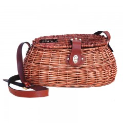 Streamside willow fishing creel with leather carrying strap