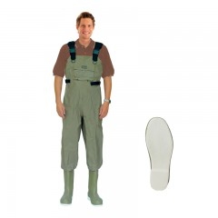 Fishing chest waders for men anglers fishing in lakes, rivers, streams with water resistant, Taslon material PVC molded felt boot with Neoprene insulation from CG Emery, a leading wholesaler with a retail network of fishing and hunting stores across Canada offering outdoor products for sale, including gear, clothes, apparel, equipment and accessories for men, women, youth and kids in Ontario,  Alberta, British Columbia, Manitoba, New Brunswick, Newfoundland and Labrador, Nova Scotia, Prince Edward Island, Quebec, and Saskatchewan.