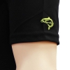 Close up of embroidered fish logo